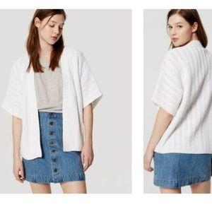 Loft White Cotton Kimono Oversized Cardigan